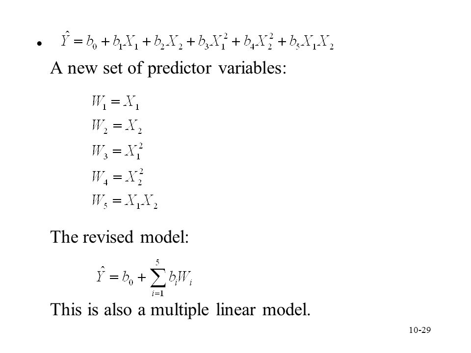 A new set of predictor variables: