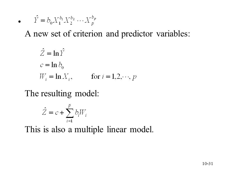 A new set of criterion and predictor variables: