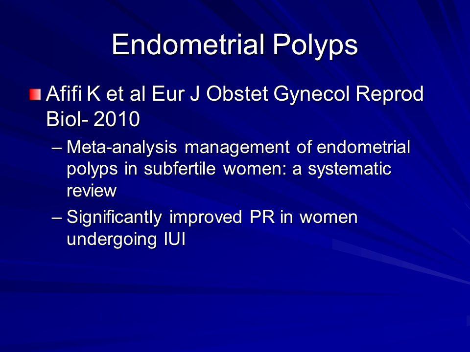 Endometrial Polyps Afifi K et al Eur J Obstet Gynecol Reprod Biol- 2010.