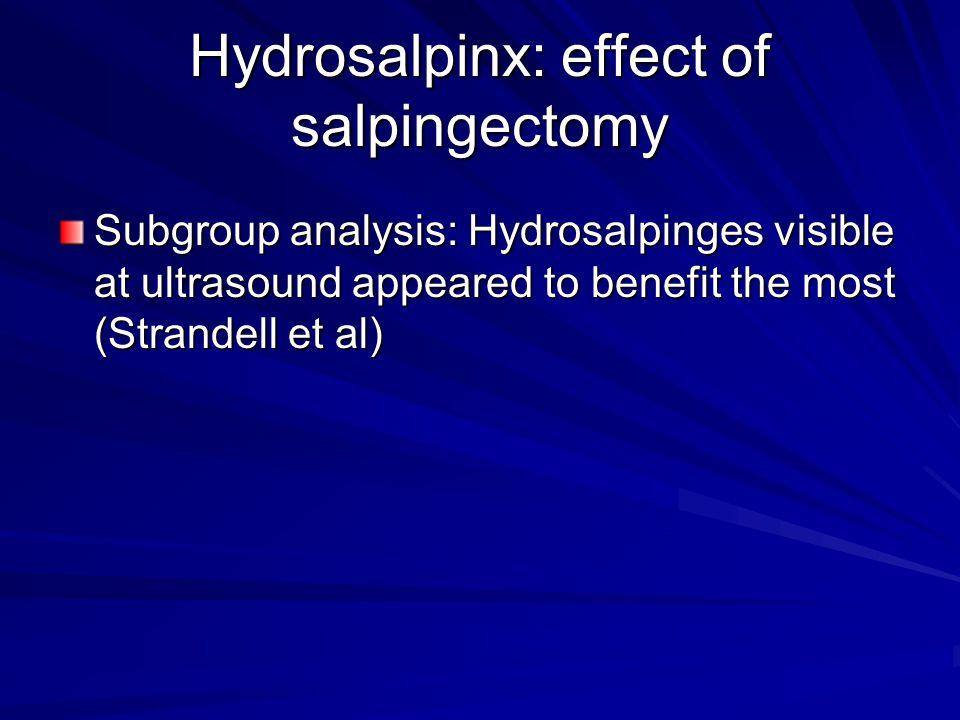 Hydrosalpinx: effect of salpingectomy
