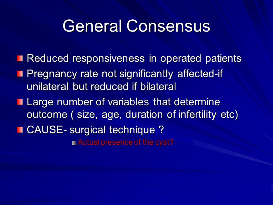 General Consensus Reduced responsiveness in operated patients