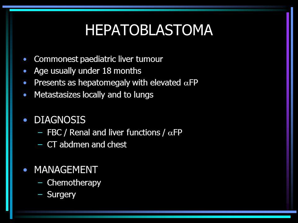 HEPATOBLASTOMA DIAGNOSIS MANAGEMENT Commonest paediatric liver tumour