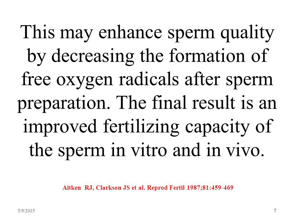 Aitken RJ, Clarkson JS et al. Reprod Fertil 1987;81:459-469