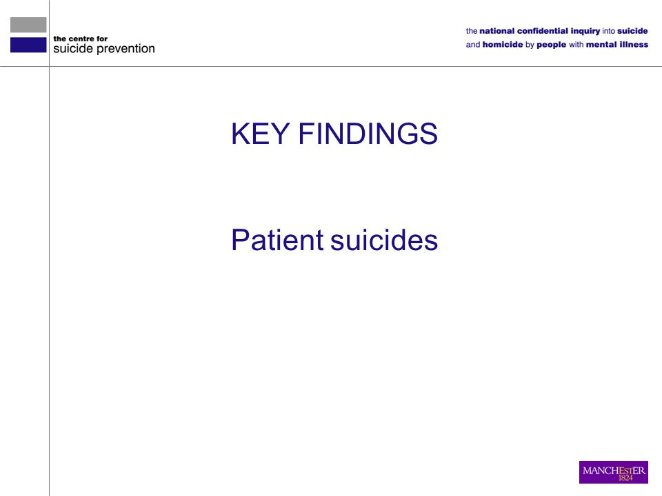 KEY FINDINGS Patient suicides