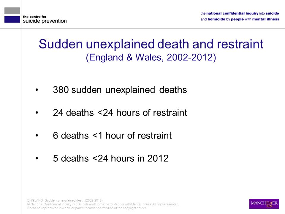 Sudden unexplained death and restraint