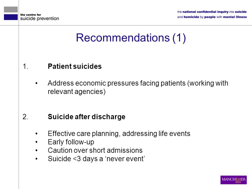 Recommendations (1) 1. Patient suicides