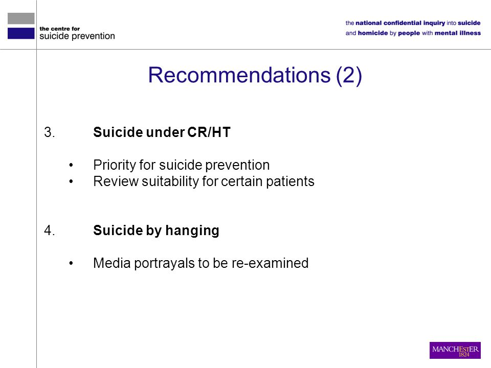 Recommendations (2) 3. Suicide under CR/HT