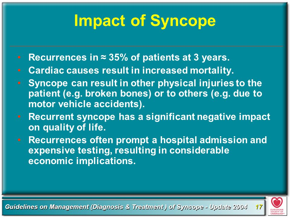 Impact of Syncope Recurrences in ≈ 35% of patients at 3 years.