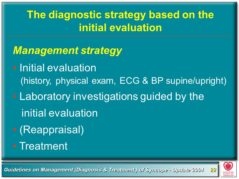 The diagnostic strategy based on the initial evaluation