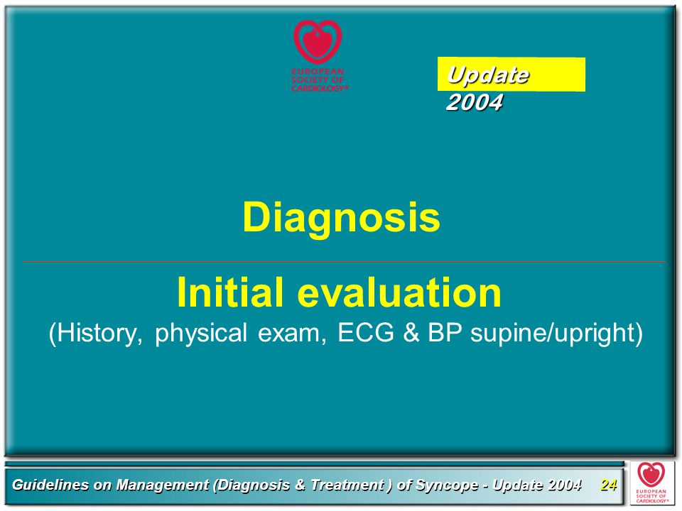 Initial evaluation (History, physical exam, ECG & BP supine/upright)