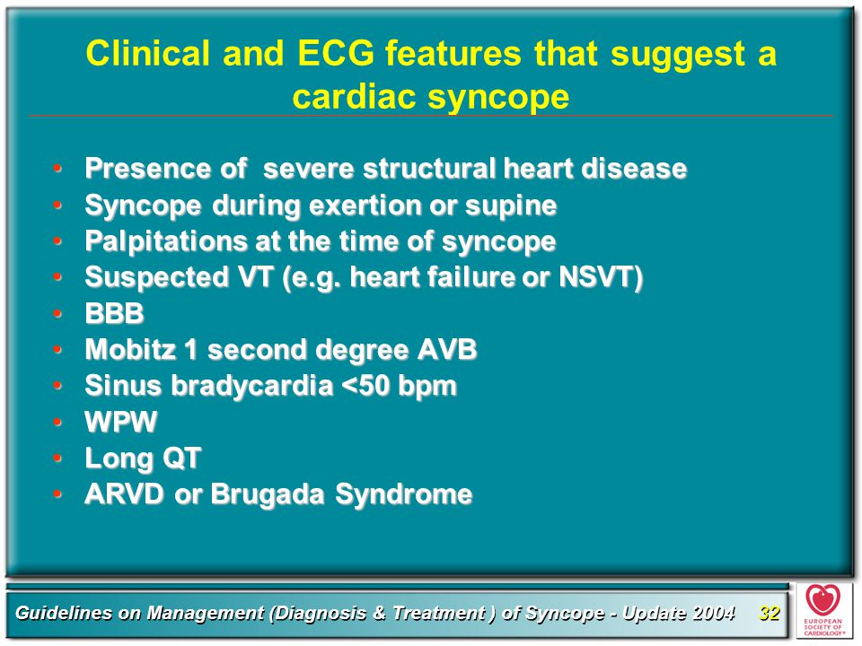 Clinical and ECG features that suggest a cardiac syncope