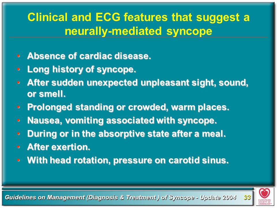 Clinical and ECG features that suggest a neurally-mediated syncope
