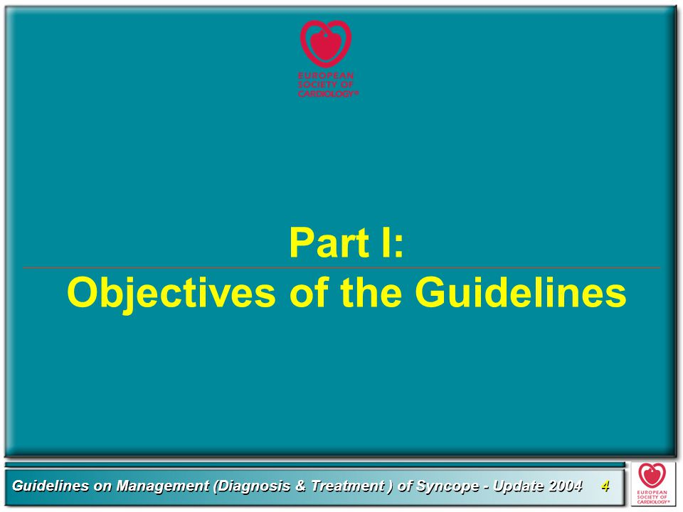 Part I: Objectives of the Guidelines