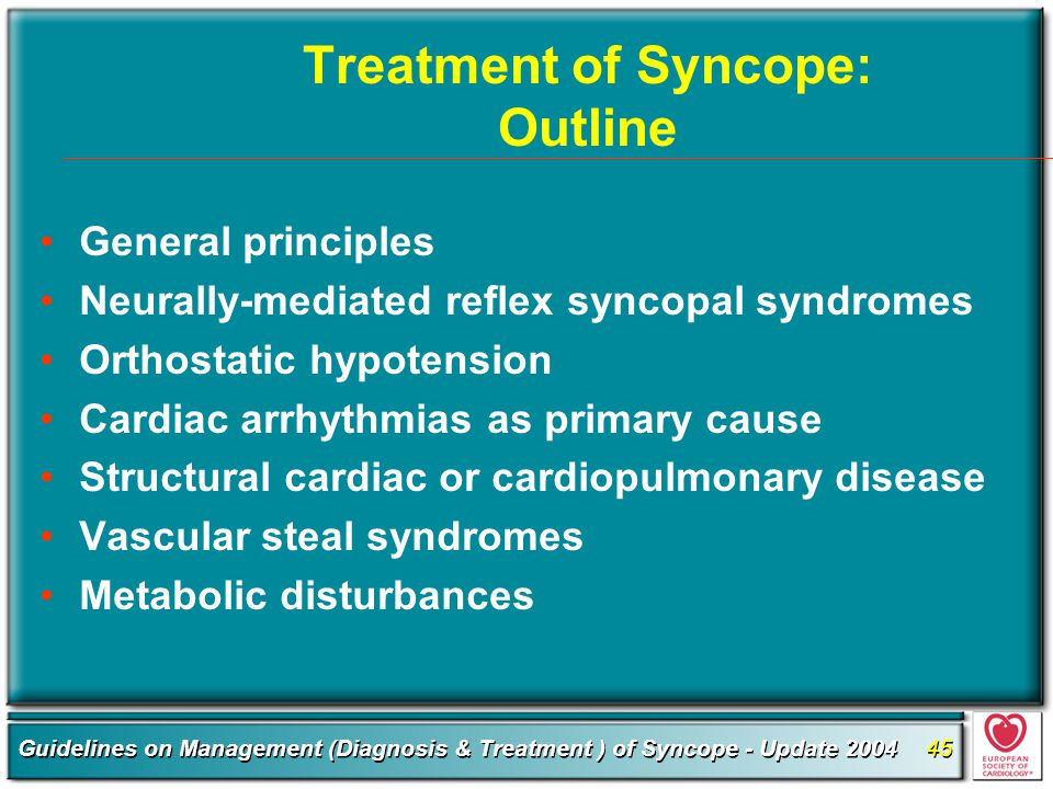 Treatment of Syncope: Outline