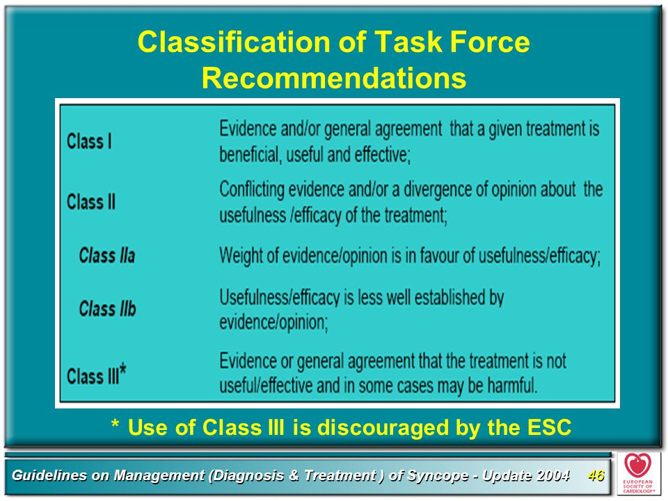 Classification of Task Force Recommendations