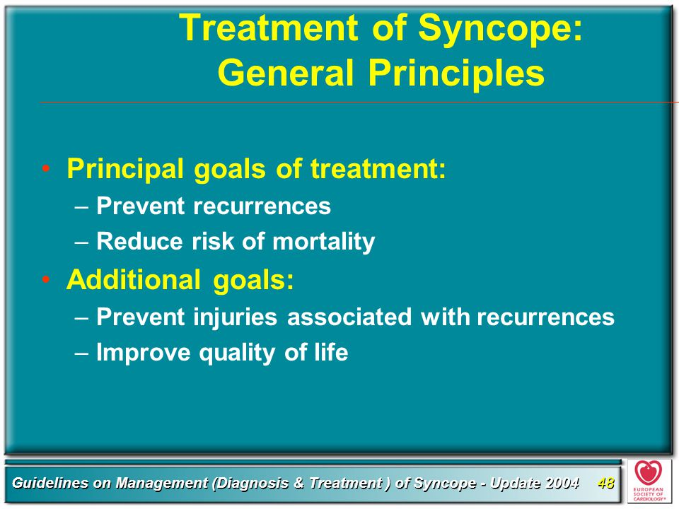 Treatment of Syncope: General Principles