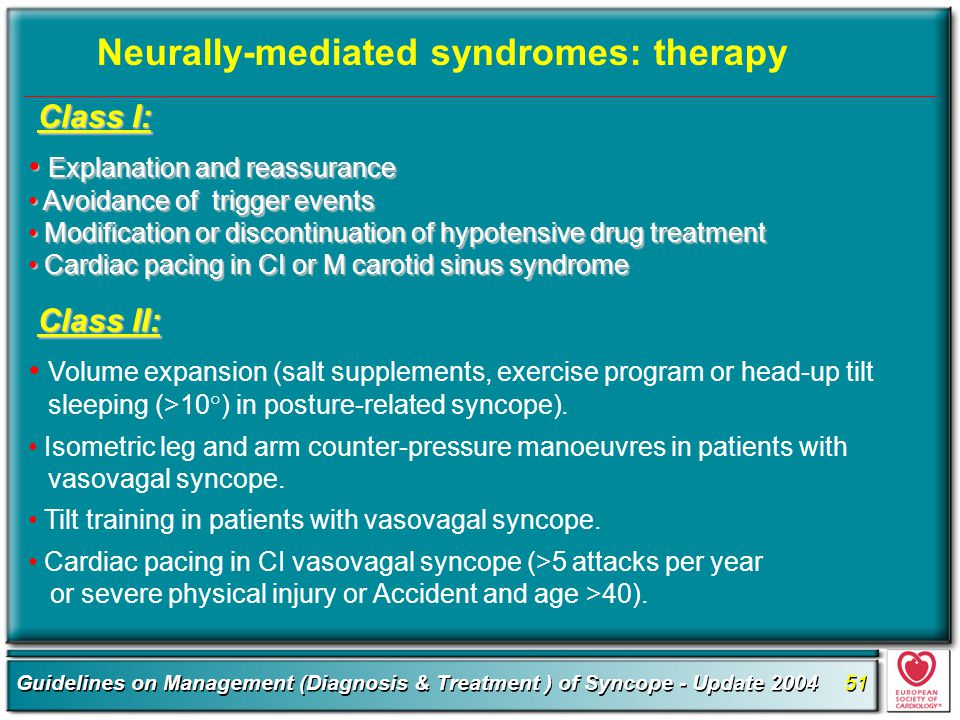 Neurally-mediated syndromes: therapy