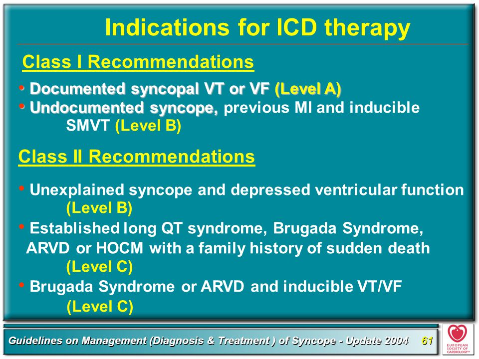 Indications for ICD therapy