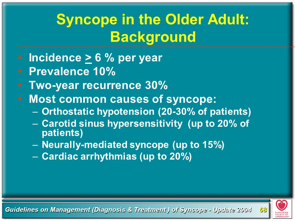 Syncope in the Older Adult: Background