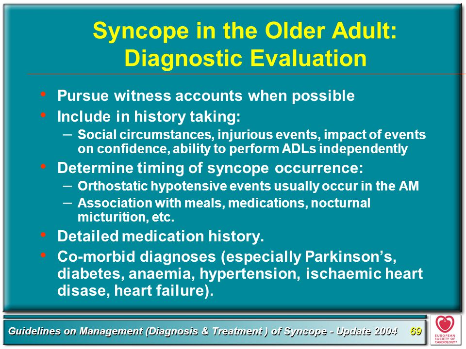 Syncope in the Older Adult: Diagnostic Evaluation