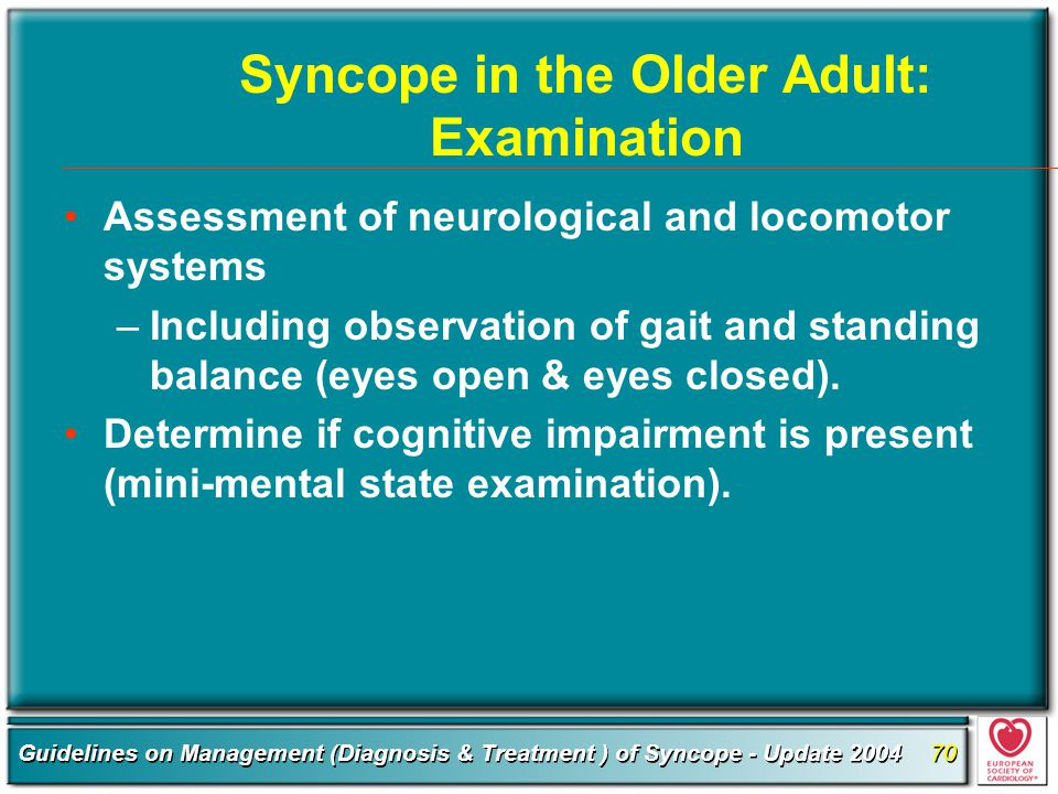 Syncope in the Older Adult: Examination