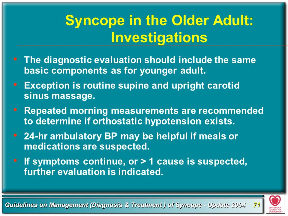 Syncope in the Older Adult: Investigations