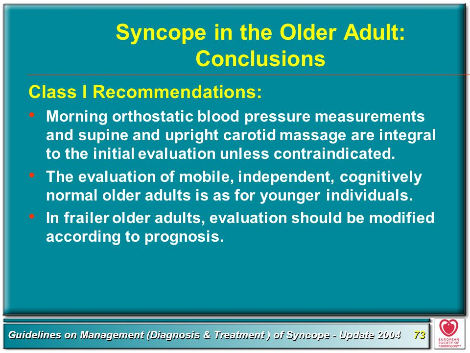 Syncope in the Older Adult: Conclusions