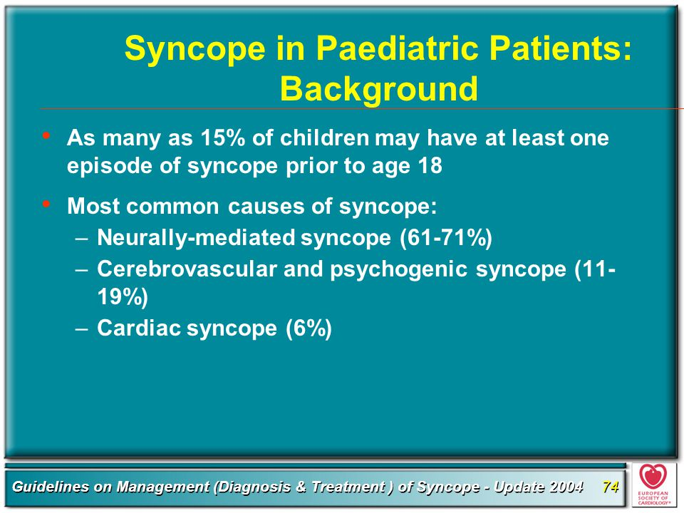 Syncope in Paediatric Patients: Background