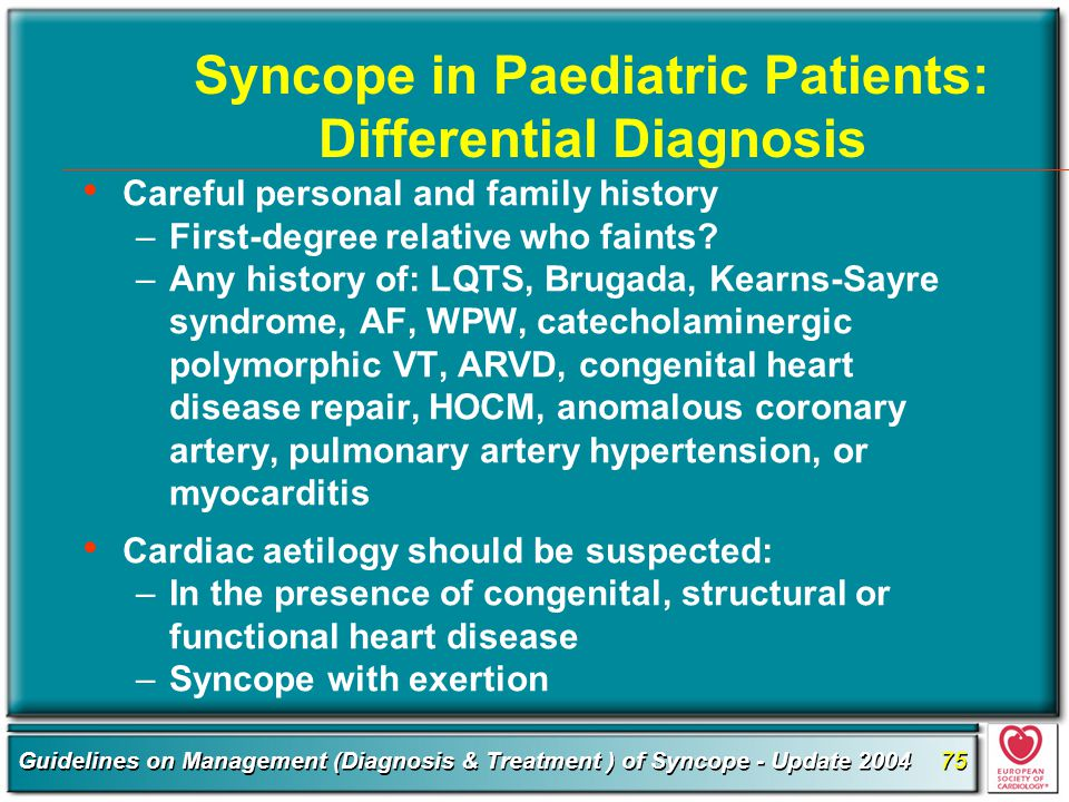Syncope in Paediatric Patients: Differential Diagnosis