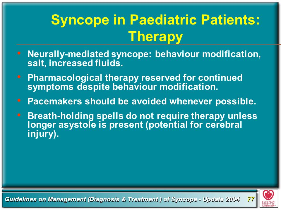 Syncope in Paediatric Patients: Therapy