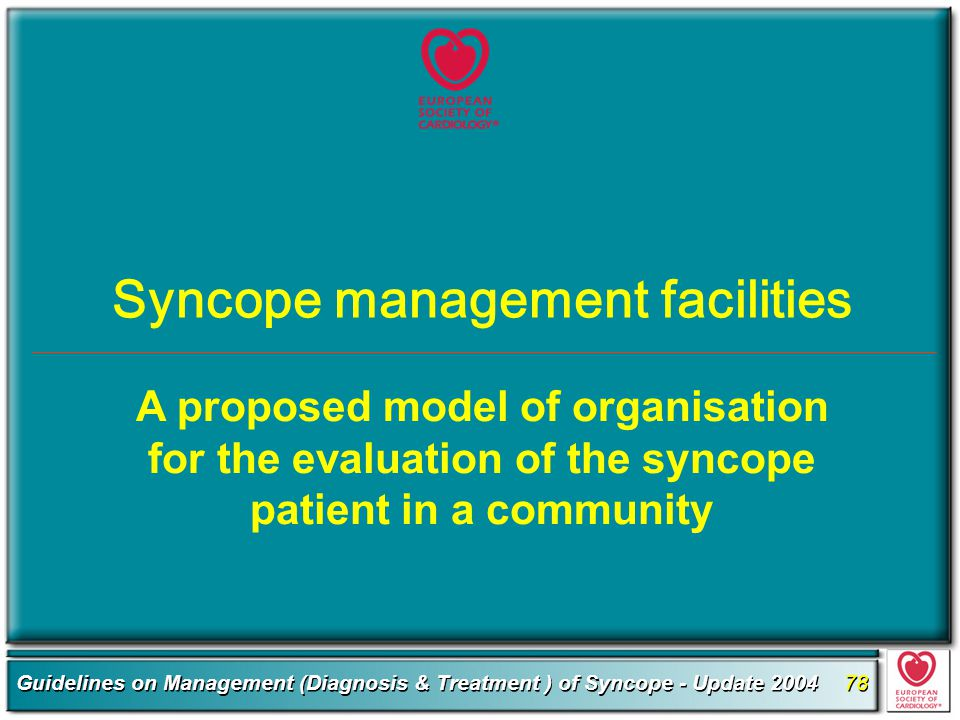 Syncope management facilities