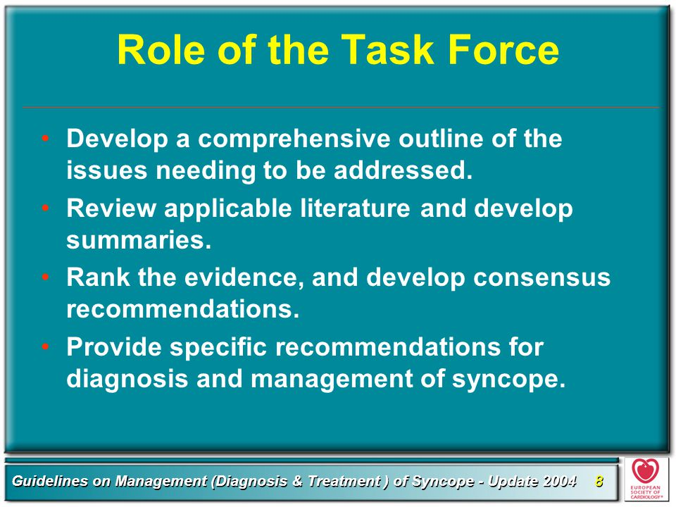 Role of the Task Force Develop a comprehensive outline of the issues needing to be addressed. Review applicable literature and develop summaries.