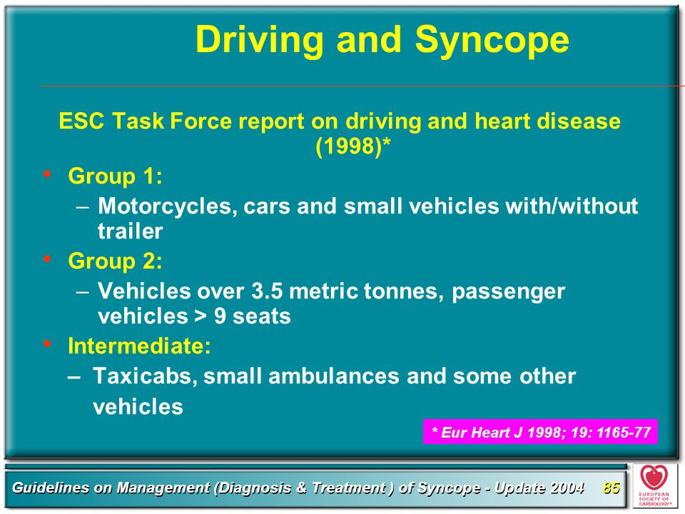 ESC Task Force report on driving and heart disease (1998)*