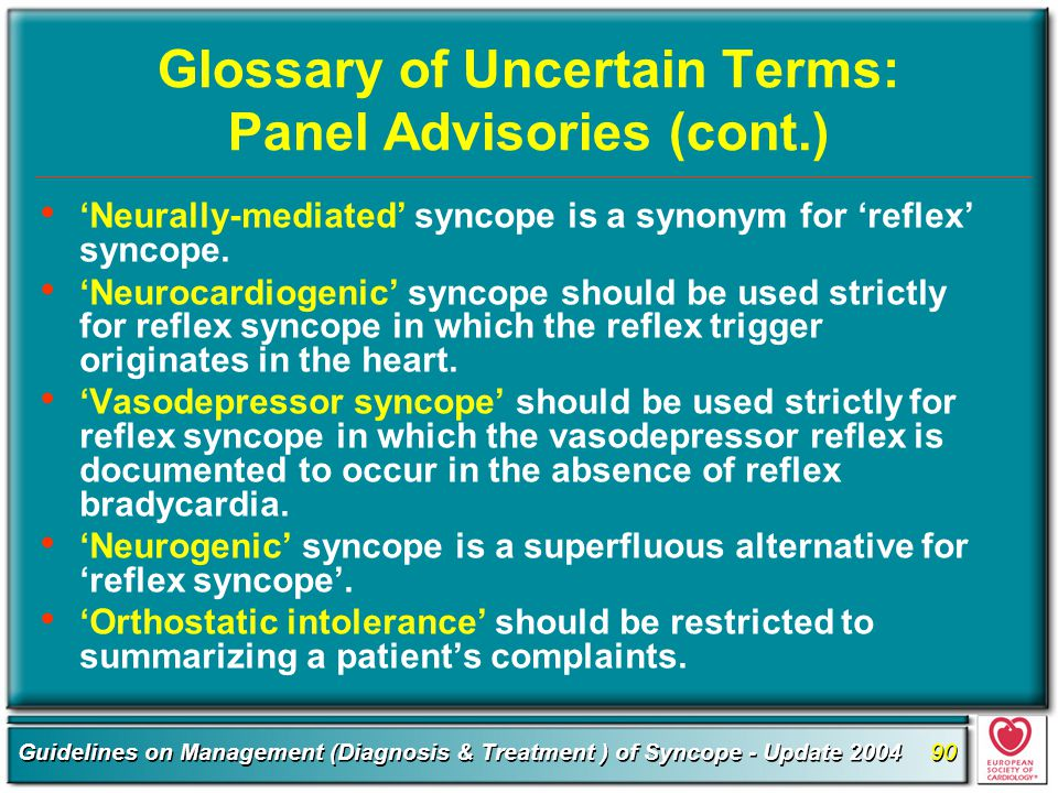 Glossary of Uncertain Terms: Panel Advisories (cont.)