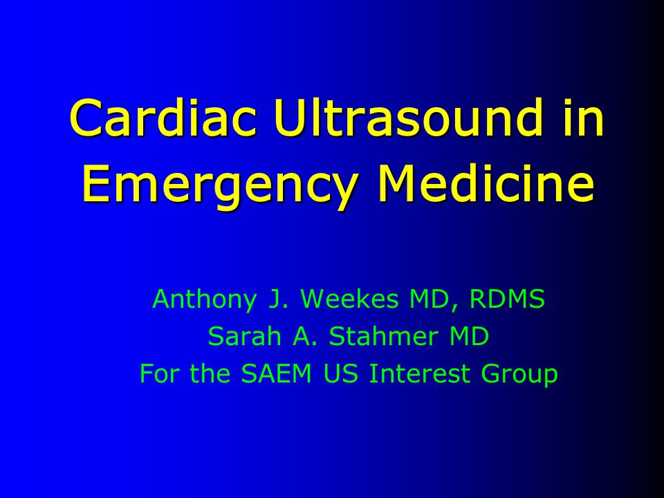 Cardiac Ultrasound in Emergency Medicine