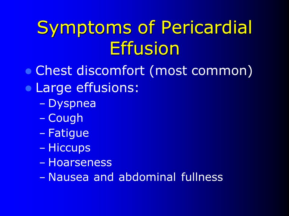 Symptoms of Pericardial Effusion