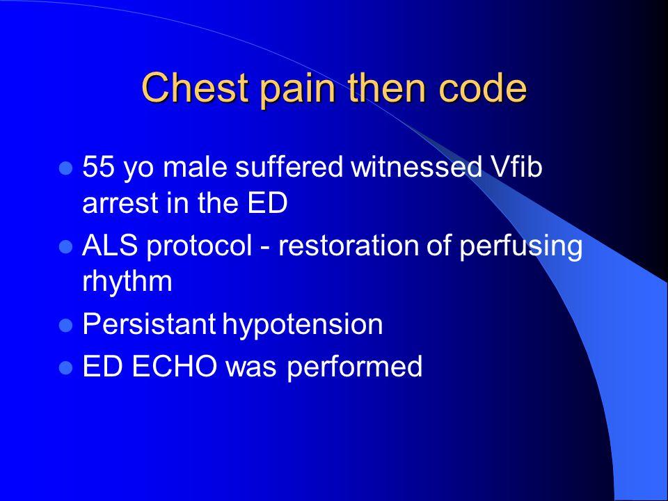 Chest pain then code 55 yo male suffered witnessed Vfib arrest in the ED. ALS protocol - restoration of perfusing rhythm.