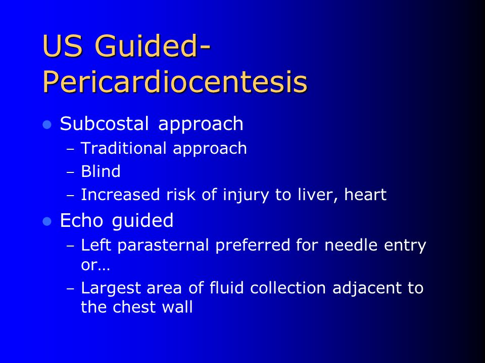 US Guided- Pericardiocentesis