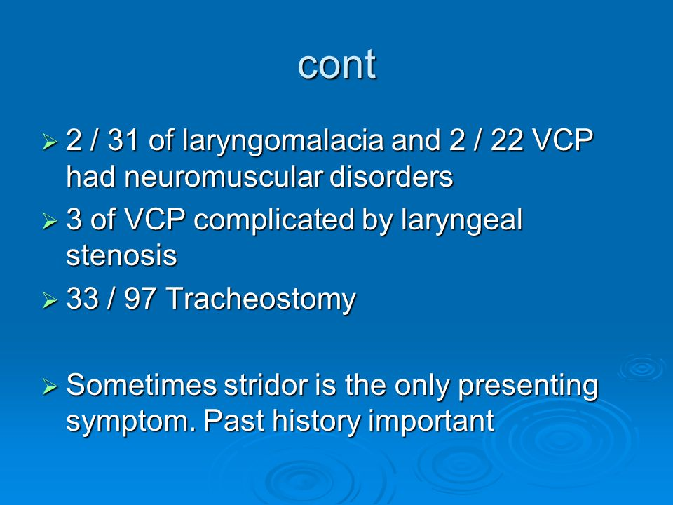 cont 2 / 31 of laryngomalacia and 2 / 22 VCP had neuromuscular disorders. 3 of VCP complicated by laryngeal stenosis.