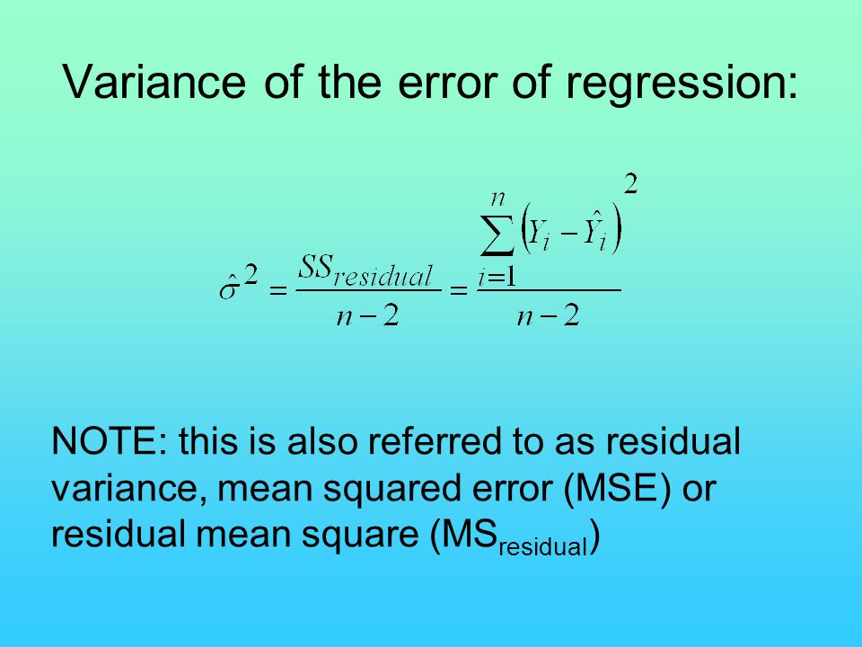 Variance of the error of regression:
