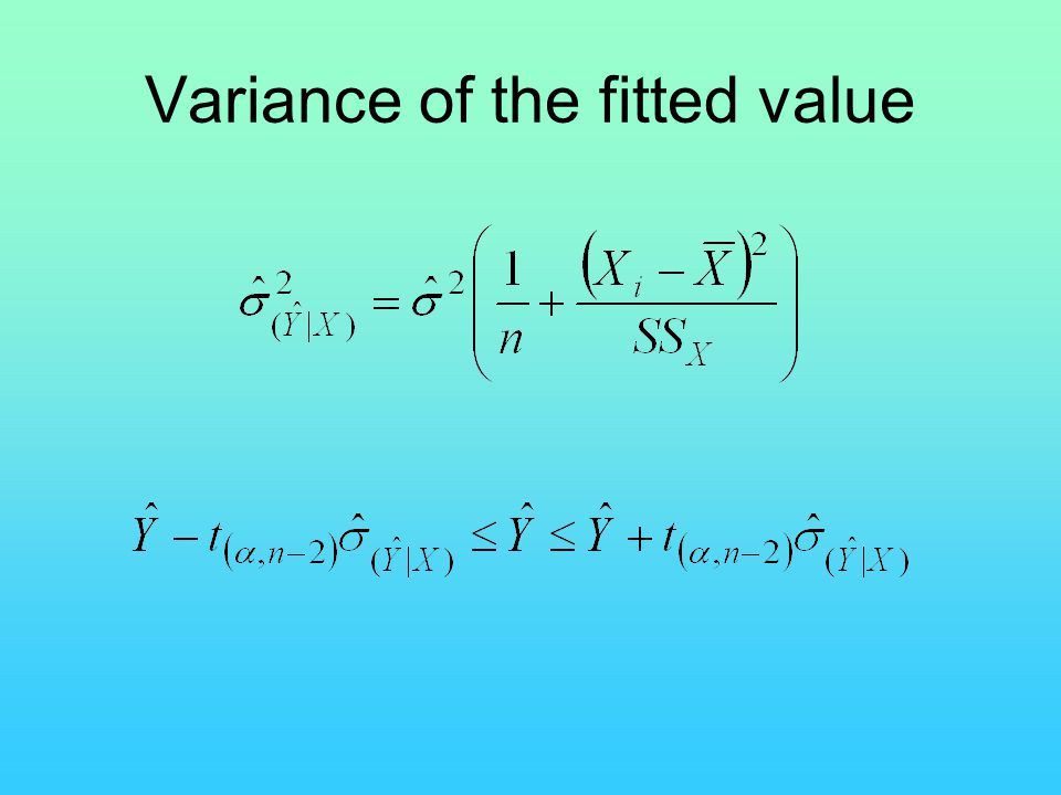 Variance of the fitted value