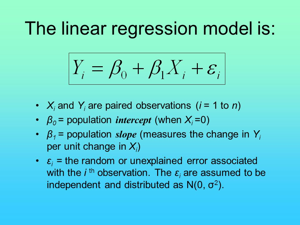 The linear regression model is: