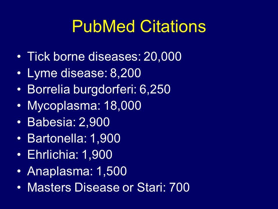 PubMed Citations Tick borne diseases: 20,000 Lyme disease: 8,200