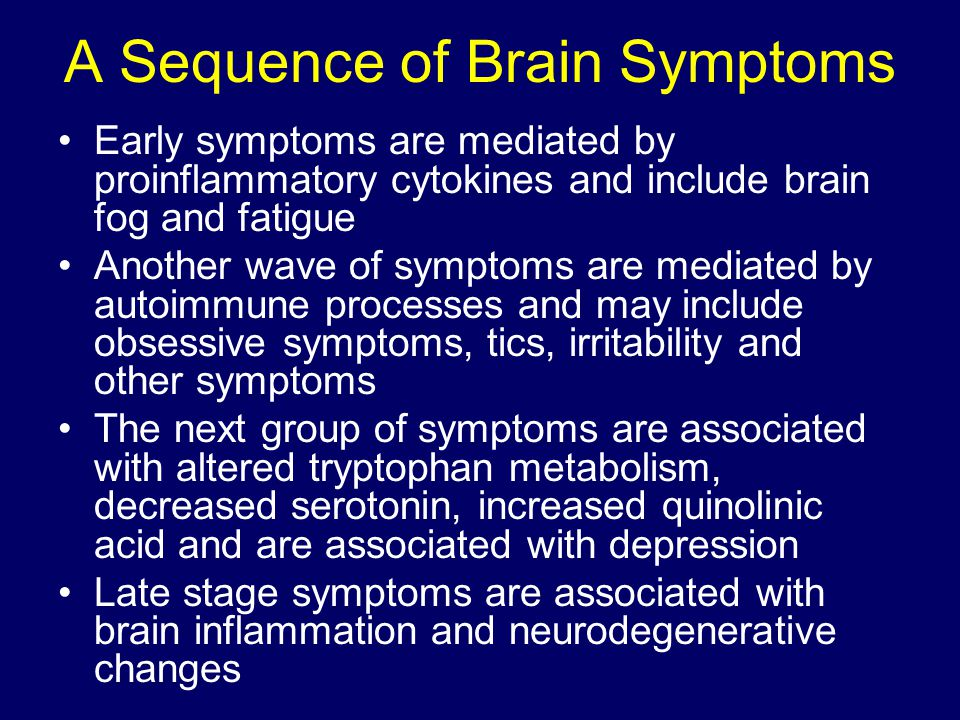 A Sequence of Brain Symptoms