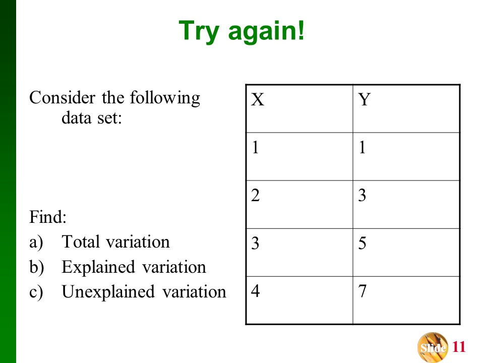 Try again! Consider the following data set: Find: Total variation