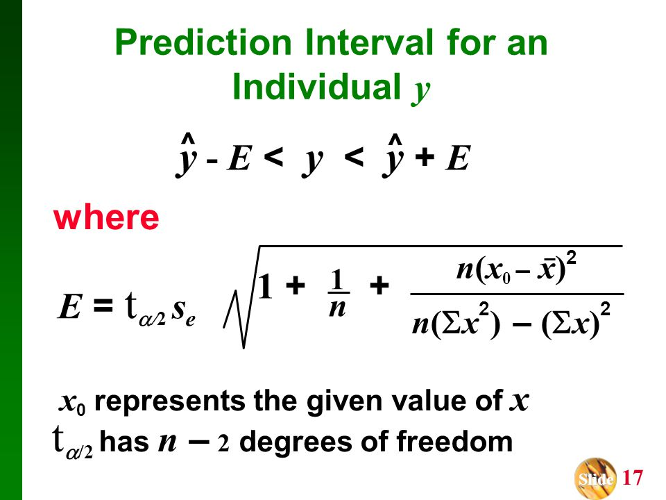 Prediction Interval for an Individual y