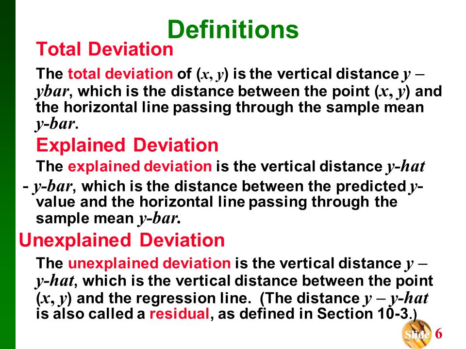 Definitions Total Deviation