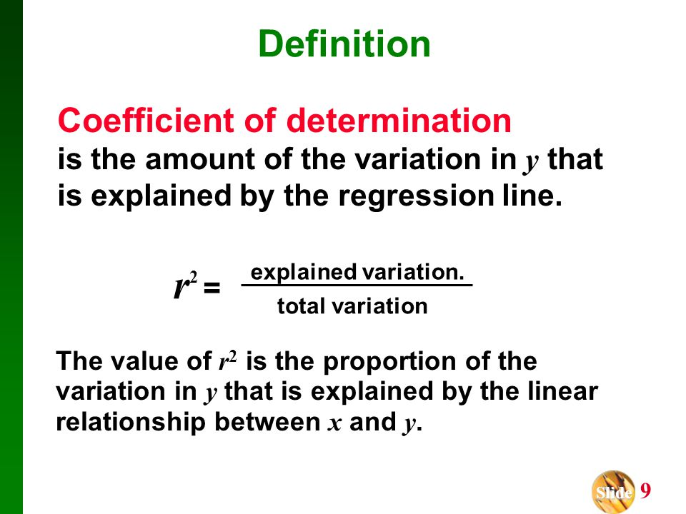 r2 = Definition Coefficient of determination