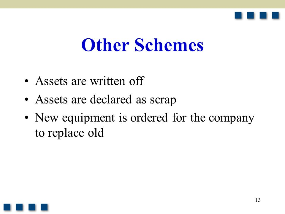 Other Schemes Assets are written off Assets are declared as scrap