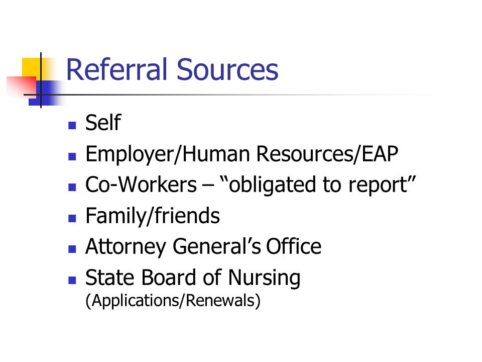Referral Sources Self Employer/Human Resources/EAP